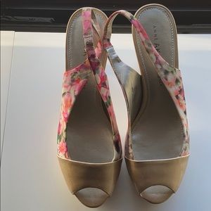 Anne Klein gold and floral heels